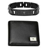 Prayer Wear Men's Wallets multi - Black Our Father Prayer Id Link Bracelet & Leather Wallet Set