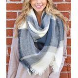 Riah Fashion Women's Cold Weather Scarves Blue - Blue & Gray Plaid Blanket Scarf - Women