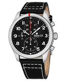 Tutima Grand Flieger Airport Chronograph Mens Automatic Watch - 43mm Black Face with Luminous Hands, Date and Sapphire Crystal - Stainless Steel Black Leather Band Watch Made in Germany 6402-01