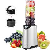 Blender, Aicok Personal Smoothie Blender, Stainless Steel Single Serve Blender, with 21 oz BPA Free Portable Travel Sports Bottle with Extra Travel Lid, 300W, Silver