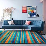 Decomall 8'x10' Striped Area Rug Modern Geometric Carpet Multi Color for Living Room Bedroom