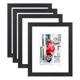 Langdon House 8x10 Picture Frame (4 Pack, Black) 8 x 10 Photo Frame with Mat for 5x7 Picture, Sturdy Wood Composite, Wall Mount Hooks Included with Black Picture Frames, Prima Collection