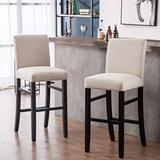 YEEFY Dining Chairs High Bar Height Side Chairs with Wood Legs, Set of 2 (Beige)