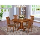 Alcott Hill® Emmaline 5 - Piece Butterfly Leaf Rubberwood Solid Wood Dining Set Wood/Upholstered Chairs in Brown, Size 30.0 H in | Wayfair