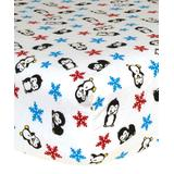 Trend Lab Crib Sheets Black/White - Penguin Print Flannel Fitted Crib Sheet