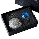Creative Gift Set Doctor Who Pocket Watches for Kids Movie Dr. Who Silver Quartz Watch Pendant Chain Boy Mens Clock with Watch Box