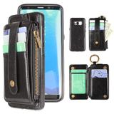 Vegan Leather Case with Detachable Card Holder Mobile Phone Wallet Case, Black for Samsung Galaxy S8 Plus
