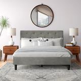 Trule Chaska Upholstered Platform Bed FrameWood/Upholstered/Velvet/Solid Wood in Gray, Size 65.0 W in | Wayfair B86C624B8B0B49DBBDC8E7DE6415ABE8