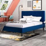 Trule Chaska Upholstered Platform Bed FrameWood/Upholstered/Velvet/Solid Wood in Blue, Size 65.0 W in | Wayfair E08CCF0DEFD34270A9CD5A730A3D0A17