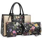 Women Handbags Top Handle Satchel for Ladies Vegan Leather Purse Wallet 3Pcs Set Shoulder Bag, 01-8010-Gold/Black Flower
