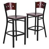 Flash Furniture 2 Pk. HERCULES Series Black 4 Square Back Metal Restaurant Barstool - Mahogany Wood Back & Seat
