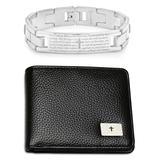 Prayer Wear Men's Wallets multi - Stainless Steel Prayer ID Link Bracelet & Leather Wallet Set