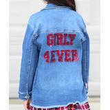 Cutie Patootie Girls' Indigo - Indigo Reversible Sequin Embroidery Button-Up Denim Jacket - Toddler & Girls