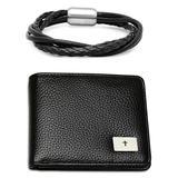 HMY Jewelry Men's Bracelets multi - Black Leather Braided Bracelet & Leather Wallet Set