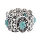 MexZotic Women's Bracelets Silver - Blue Howlite & Silvertone Geometric Stretch Bracelet