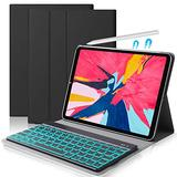 iPad Pro 11 Keyboard Case, D Dingrich Backlit Keyboard PU Leather Folio Cover Support Apple Pencil Charging, for iPad Pro 11 inch (1st Generation) 2018
