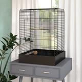 "Tucker Murphy Pet™ Kalinowski 29"" Steel Flat Table Top Bird Cage w/ Food Access Door Steel in Black, Size 29.0 H x 20.0 W x 20.0 D in | Wayfair"