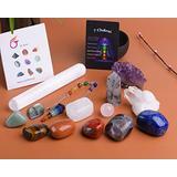 JIC Gem 14 Pcs Healing Crystals for Chakra Balancing: tumbles Stones,Crystal Quartz Pendulum, Amethyst Cluster, Raw Rose Quartz Ball, Black Tourmaline Quartz, Irregular Labradorite