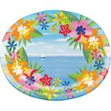 Creative Converting Lush Luau Oval Paper Dinner Plate Paper in Blue/Green/Pink | Wayfair DTC335518OVAL
