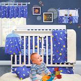 Brandream Outer Space Crib Bedding Sets for Boys Galaxy Nursery Bedding Blue Baby Boys Bedding Set , 100% Hypoallergenic Soft Cotton, 11 Pieces