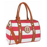 MKF Collection by Mia K. Women's Handbags Fuchsia - Fuchsia Stripe Medallion Satchel