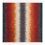 "Safavieh Farmhouse Collection FMH824N Boho Stripe Tassel Area Rug, 6'3"" x 6'3"" Square, Navy / Orange"