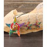 BeSheek Women's Earrings - Rainbow Crystal & Silvertone Mosaic Starfish Necklace & Earrings
