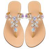 Women's Summer Rhinestone Bling Wedding Sandals,Glitter Jeweled Sandals,Dressy Flat Sandals,Beach Flip-Flops, Size 11.5 Gold