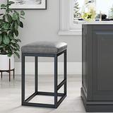 """Nathan James Nelson Backless Pub-Height Kitchen Counter Bar Stool with Faux Leather Cushion and Metal Base, 24"""", Gray/Black"""