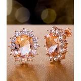 Inspired by You Women's Earrings Rose - Simulated Morganite & Cubic Zirconia Oval Stud Earrings