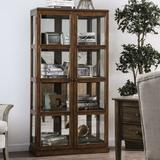 Charlton Home® Lechner Transitional Wooden Curio Cabinet Wood/Glass in Brown, Size 67.0 H x 13.75 W x 35.0 D in | Wayfair