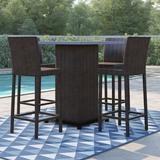 Sol 72 Outdoor™ Kasandra 5 Piece Bar Height Dining Set Metal in Brown/White, Size 42.0 H x 35.5 W x 35.5 D in | Wayfair