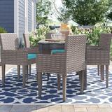 Sol 72 Outdoor™ Rockport Patio Dining Chair w/ Cushion Metal in Gray, Size 35.0 H x 23.0 W x 21.0 D in | Wayfair TKC297b-DC-3x-C-ARUBA