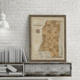 Vintage Print Gallery 'Map of Mississippi' - Picture Frame Graphic Art Print on Paper Paper in Brown, Size 30.0 H x 24.0 W x 1.0 D in | Wayfair