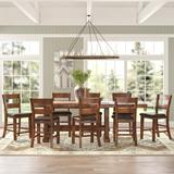 Millwood Pines Ellington 9 Piece Counter Height Dining SetWood/Upholstered Chairs in Black/Brown/Red, Size 36.0 H x 42.0 W x 108.0 D in | Wayfair