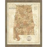 Vintage Print Gallery 'Map of Alabama' - Picture Frame Graphic Art Print on Paper Paper in Brown, Size 30.0 H x 24.0 W x 1.0 D in | Wayfair 1433-01