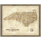 Vintage Print Gallery 'Map of North Carolina' - Picture Frame Graphic Art Print on Paper Paper in Brown, Size 24.0 H x 30.0 W x 1.0 D in | Wayfair