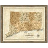 Vintage Print Gallery 'Map of Connecticut' - Picture Frame Graphic Art Print on Paper Paper in Brown, Size 24.0 H x 30.0 W x 1.0 D in | Wayfair