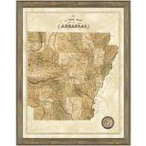 Vintage Print Gallery 'Map of Arkansas' - Picture Frame Graphic Art Print on Paper Paper in Brown, Size 30.0 H x 24.0 W x 1.0 D in | Wayfair