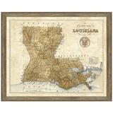 Vintage Print Gallery 'Map of Louisiana' - Picture Frame Graphic Art Print on Paper Paper in Brown, Size 24.0 H x 30.0 W x 1.0 D in | Wayfair