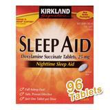 """""""Kirkland Signature Sleep Aid, Doxylamine Succinate Tabs 25 mg, 96 Tablets/Bottle"""""""