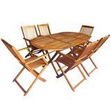 vidaXL 7 Piece Folding Outdoor Dining Set Solid Eucalyptus Wood