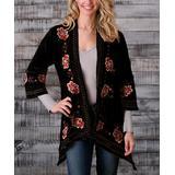 PAPARAZZI Women's Non-Denim Casual Jackets BLACK - Black Florencia Floral Velvet Kimono - Women