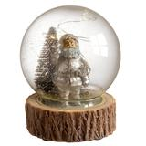 """""""National Tree Company 6"""""""" Glass Globe with Santa with 8 LED Battery Operated Lights, White"""""""