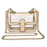 Blue Heaven Clear Boxy Shoulder Bag Chain Strap Crossbody Purse, Ivory, Small