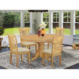 Alcott Hill® Emmaline 5 - Piece Butterfly Leaf Rubberwood Solid Wood Dining SetWood/Upholstered Chairs in Brown, Size 30.0 H in   Wayfair