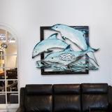 Breakwater Bay Dolphin Pod 3-Letter Wooden Monogram Wall Decor Plastic in Blue/Brown, Size 34.0 H x 25.0 W in   Wayfair