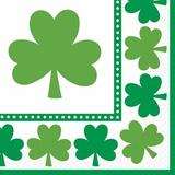 """Amscan Lucky Shamrocks St. Patrick's Day Beverage Paper Disposable Napkins Paper in Green/White, Size 0.1"""" H x 6.5"""" W x 6.5"""" D   Wayfair 511453"""