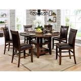 Loon Peak® Electra 7 Piece Extendable Dining SetWood/Upholstered Chairs in Black/Brown, Size 36.0 H in   Wayfair 6B92AF1015324CA98D05D05FA6C1E3C8