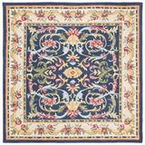 Astoria Grand Ozella Oriental Handmade Tufted Navy/Ivory Area Rug Wool/Cotton in White, Size 72.0 H x 72.0 W x 0.63 D in   Wayfair